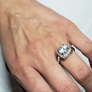 Cubic zirconia studded princess cut ring